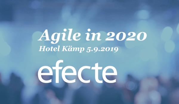 Efecten huipputapahtuma 5.9.2019 - Agile in 2020